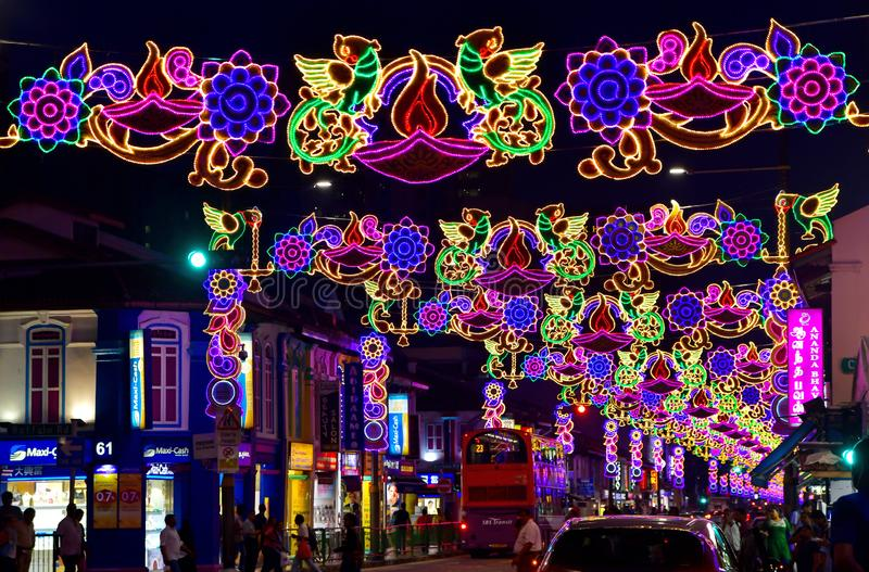 Singapore Deepavali Light Up 2019. Illuminated peacock at Singapore`s Little India Deepavali Festive Light-Up 2019. The illumination is an annual ethnic festival royalty free stock image