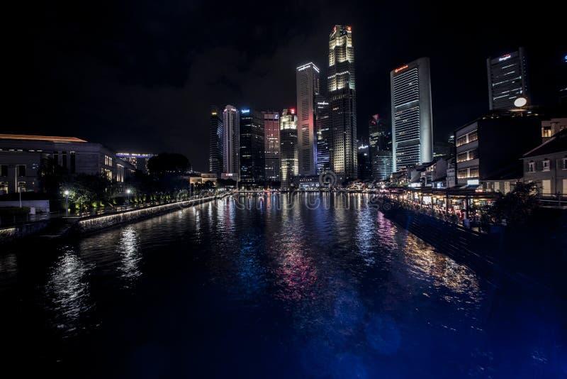 Singapore del centro alla notte immagine stock libera da diritti