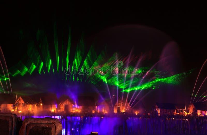 Manifestazione del laser in Sentosa, Singapore fotografia stock libera da diritti
