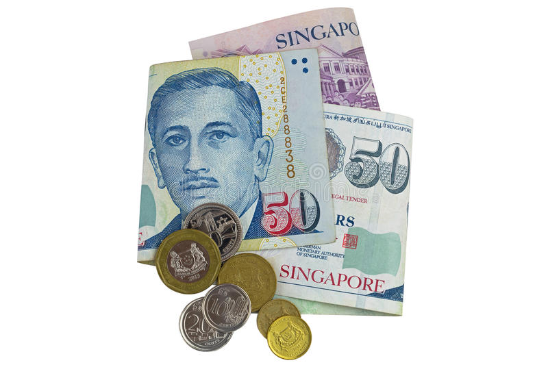 Singapore dollar banknote SGD and coins isolated on white stock images