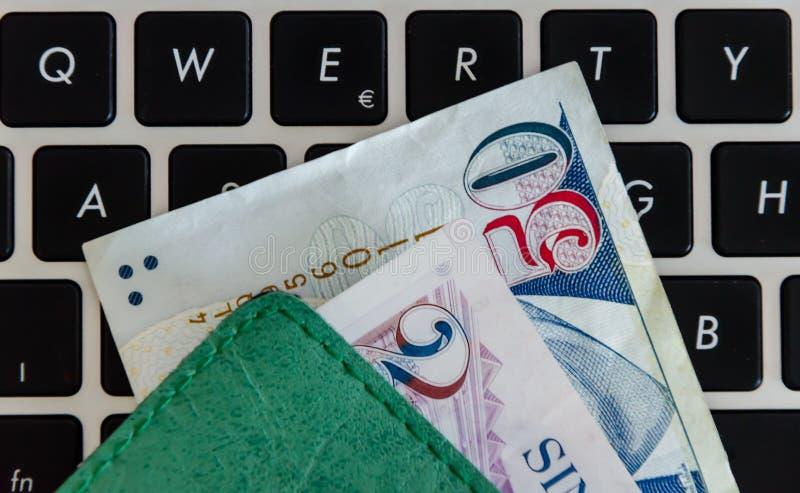Singapore dollar på ett tangentbord royaltyfria bilder