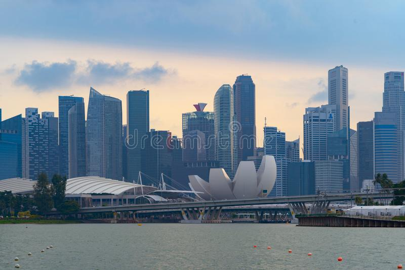 Singapore Downtown skyline at sunset with reflection. Financial district and business centers in technology smart urban city in. Asia. Skyscraper and high-rise royalty free stock image