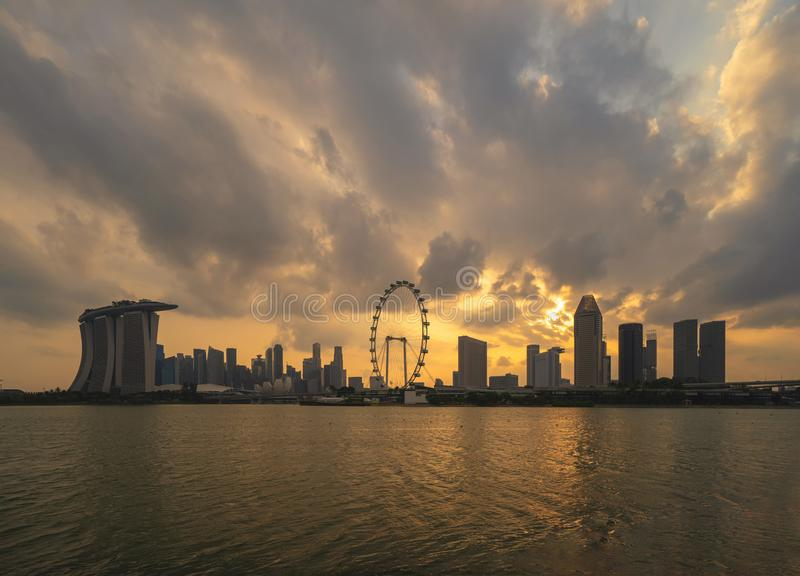 Singapore Downtown skyline at sunset with reflection. Financial district and business centers in technology smart urban city in. Asia. Skyscraper and high-rise stock image