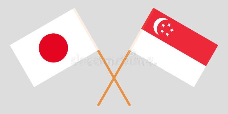 Singapore en Japan De Singaporean en Japanse vlaggen Officiële kleuren Correct aandeel Vector royalty-vrije illustratie