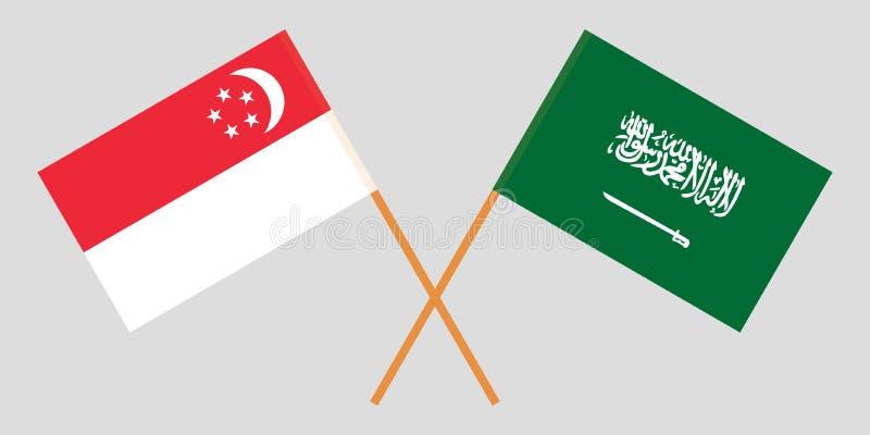 Singapore en Koninkrijk van Saudi-Arabië De Singaporean en KSA-vlaggen Officiële kleuren Correct aandeel Vector royalty-vrije illustratie
