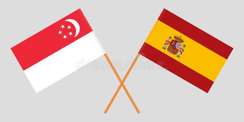 Singapore en Spanje De Singaporean en Spaanse vlaggen Officiële kleuren Correct aandeel Vector vector illustratie