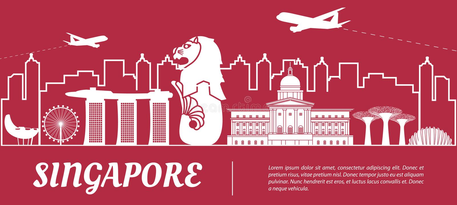Singapore famous landmark silhouette with red and white color design royalty free illustration