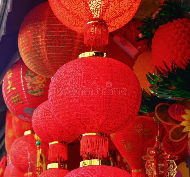 Red Chinese lantern for decoration stock photos