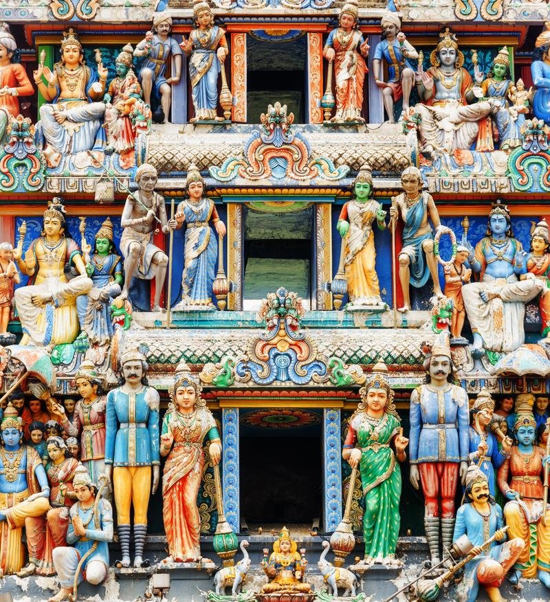 Close-up view of the gopuram of Sri Mariamman Temple, Singapore stock photos