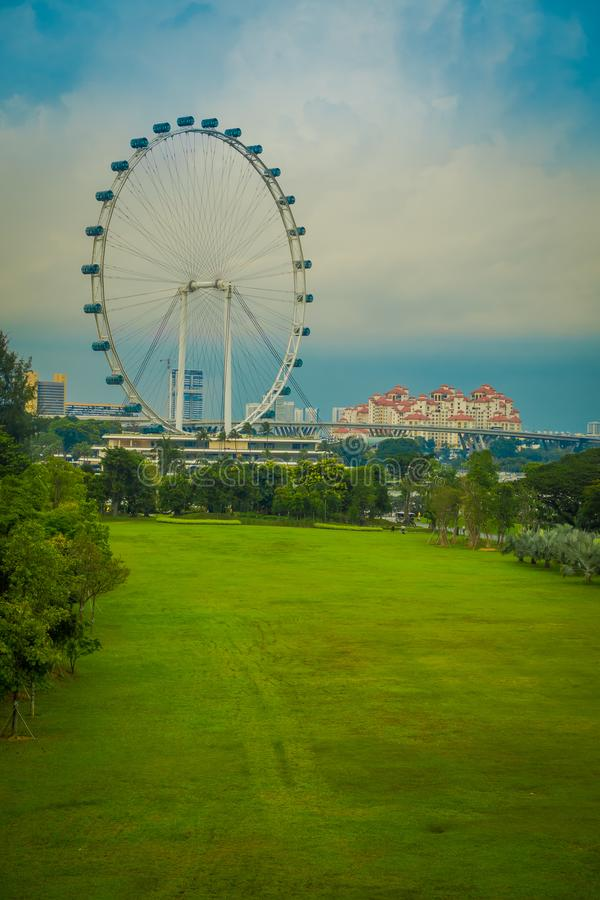SINGAPORE, SINGAPORE - FEBRUARY 01, 2018: Singapore Flyer - the Largest Ferris Wheel in the World located in Singapore.  stock image
