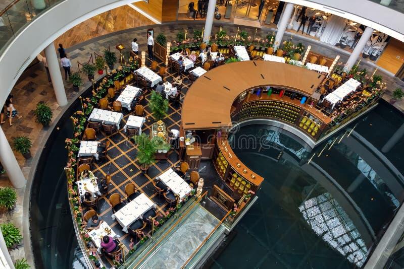 SINGAPORE - FEBRUARY 3 : View of the restaurant at Marina Bay Sa stock photo
