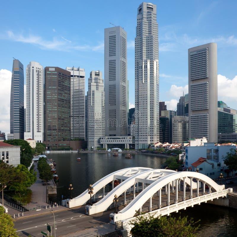 Singapore financial district and Elgin Bridge stock photography