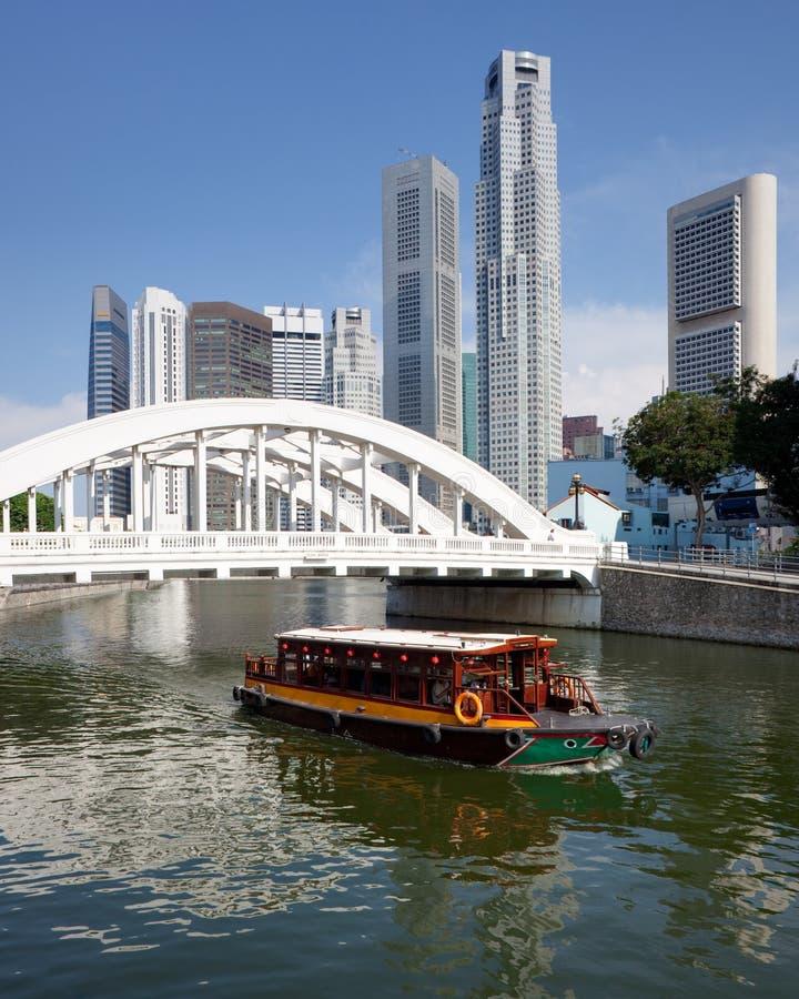 Singapore financial district with Elgin Bridge stock photos