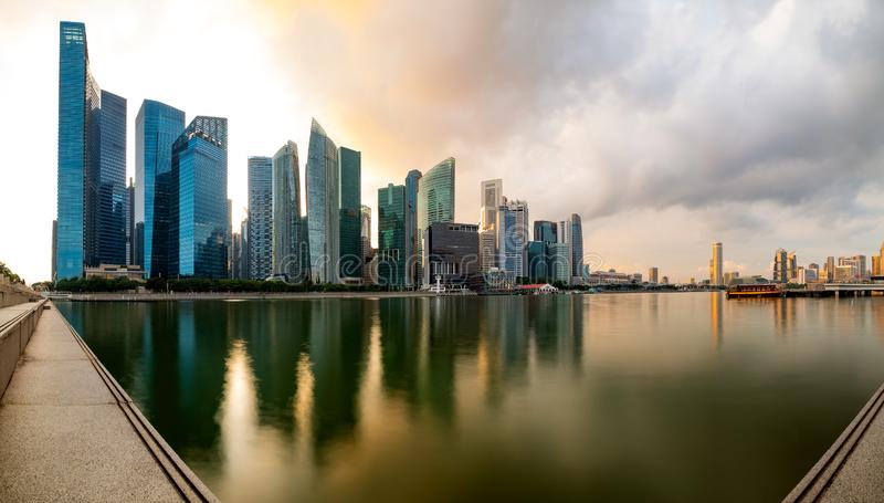 Singapore financial district skyline at Marina bay on sun set time. Singapore financial district skyline at Marina bay on sun set time, Singapore city, South royalty free stock images