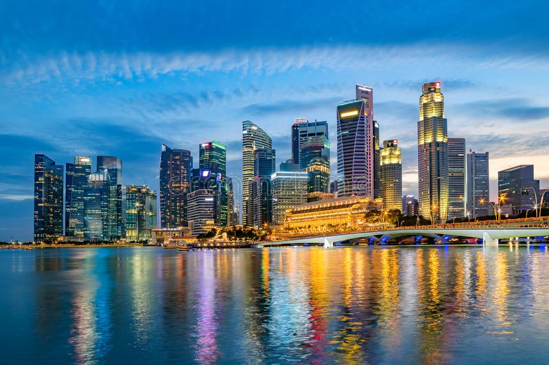 Singapore financial district skyline at Marina bay on twilight time. stock photography