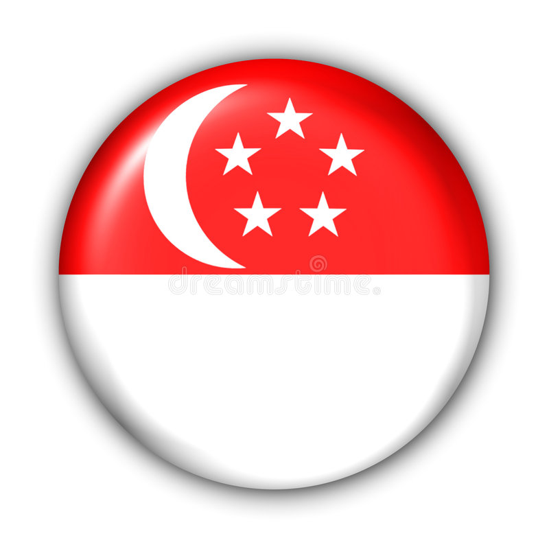 Singapore Flag. World Flag Button Series - Asia - Singapore (With Clipping Path vector illustration