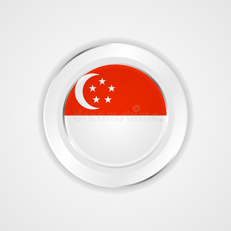 Singapore flagga i glansig symbol royaltyfri illustrationer