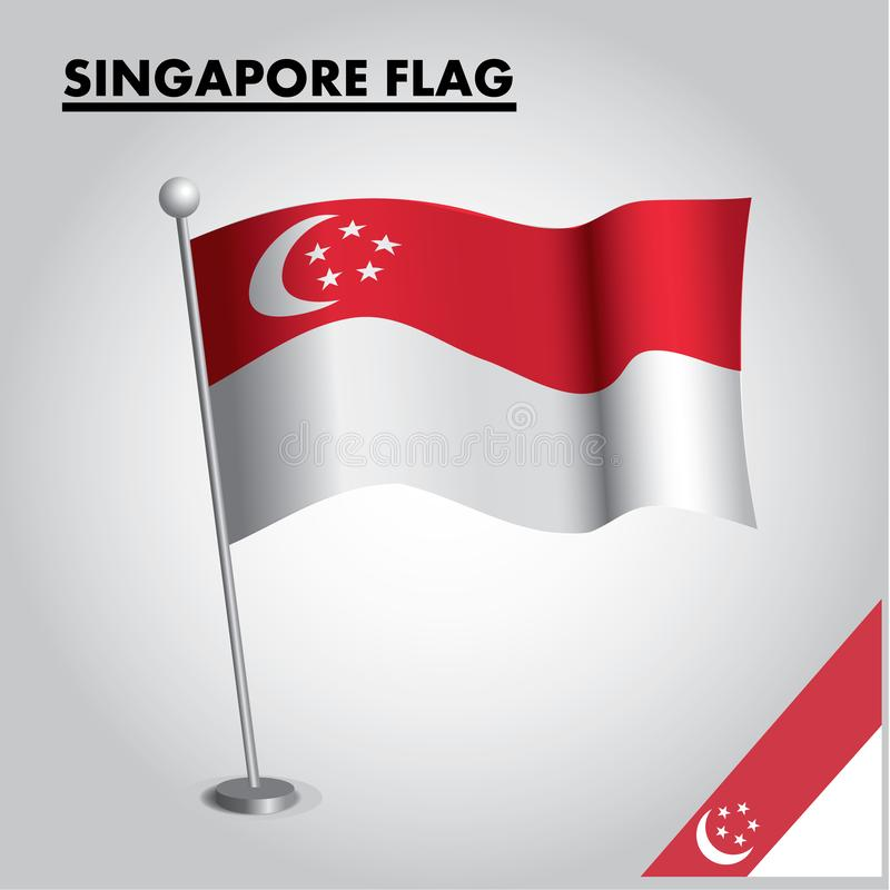 SINGAPORE flagganationsflagga av SINGAPORE på en pol royaltyfri illustrationer