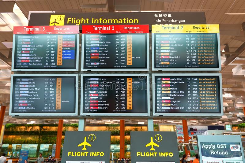 Singapore :Flight Information Screen at Terminal 3 Changi Airport royalty free stock images