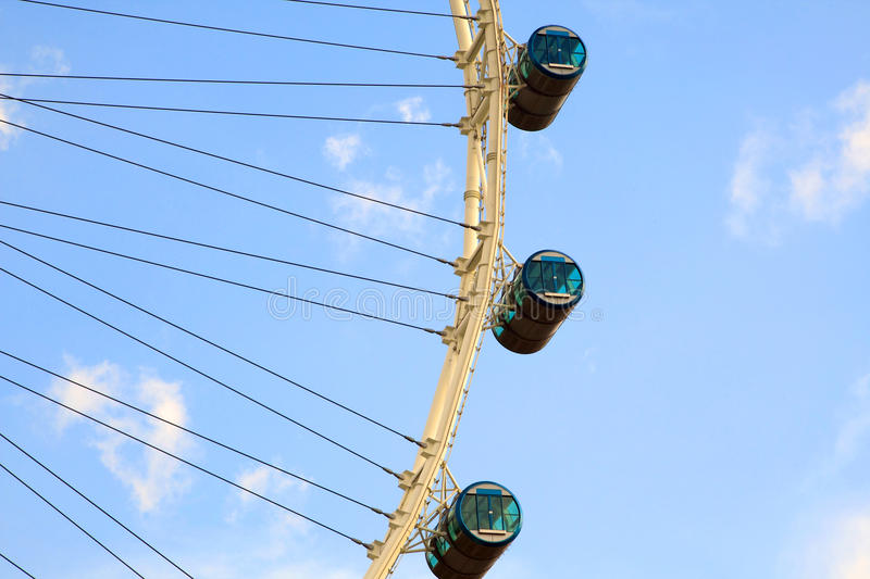 The Singapore Flyer. Close-up of The Singapore Flyer, view from Marina Bay royalty free stock images