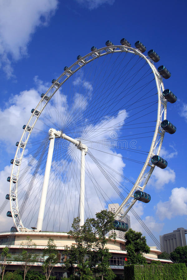The Singapore Flyer. View from Marina Bay royalty free stock photo