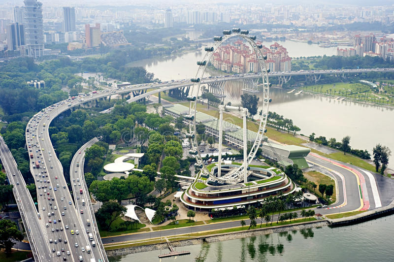 Singapore Flyer. Aerial view on Singapore Flyer from Marina Bay Sands resort stock photography