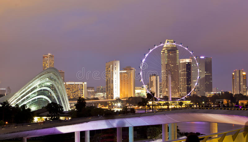 Singapore Flyer. On night time royalty free stock photo