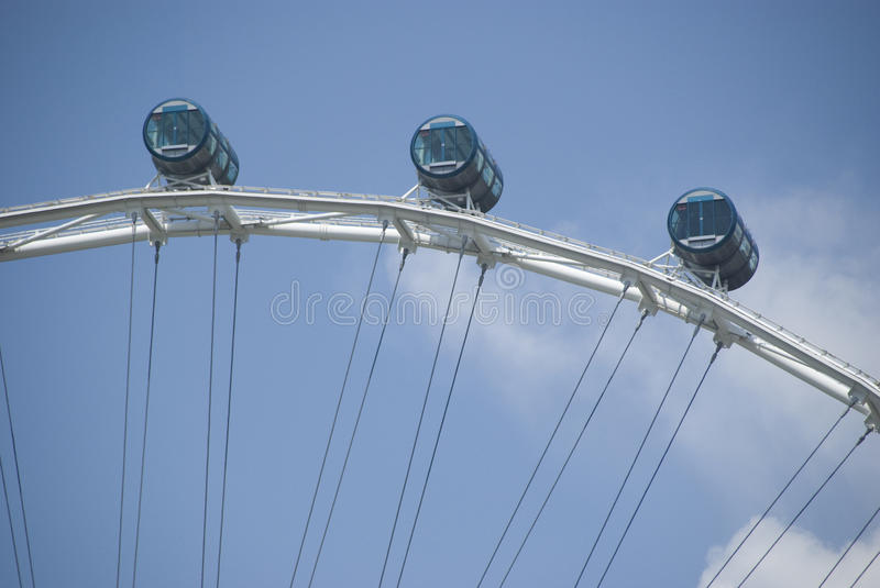 Singapore flyer. Three cabins of the singapore flyer, a giant wheel stock photo