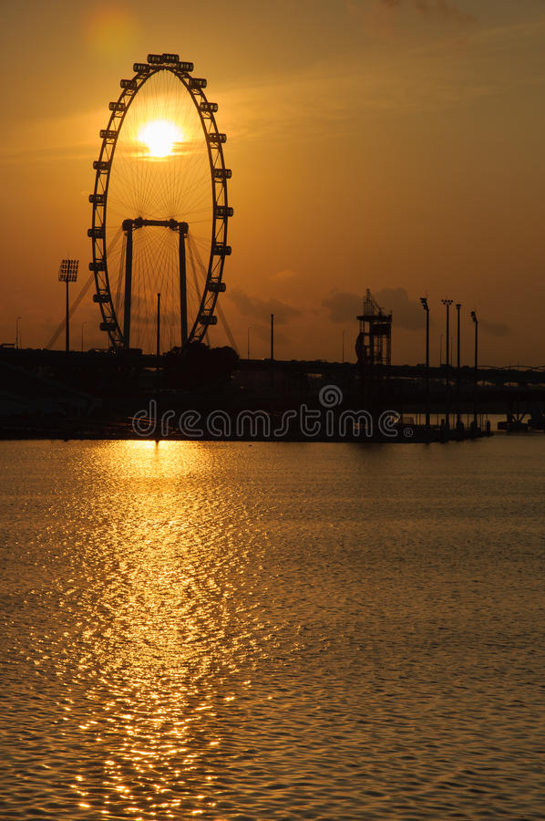 Singapore Flyer. And a sun stock images