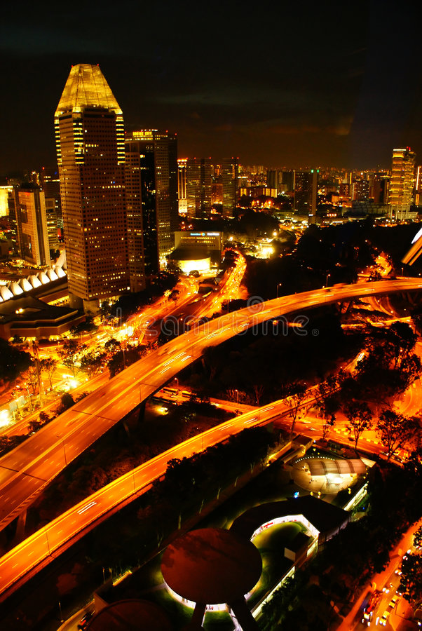 Singapore Flyer. Bird's Eye View of Singapore's Central Business District from Singapore Flyer stock image