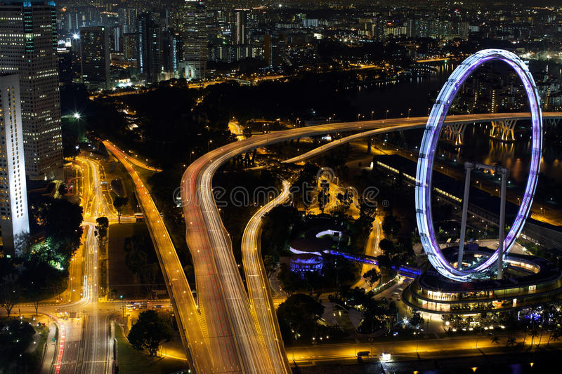 Singapore Flyer. Aerial view of Singapore with Singapore Flyer royalty free stock photo