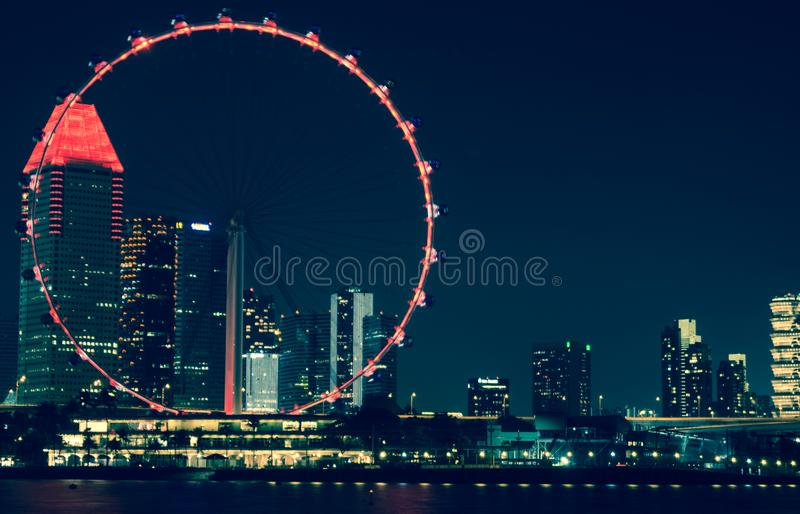 Singapore Flyer beautiful light Giant Wheels on the night time royalty free stock photography