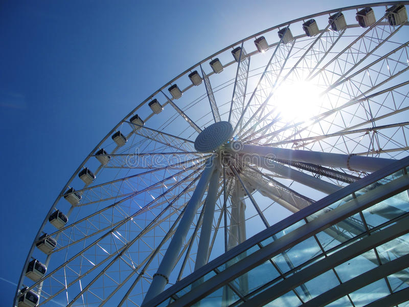 Singapore flyer. In blue sky royalty free stock photos