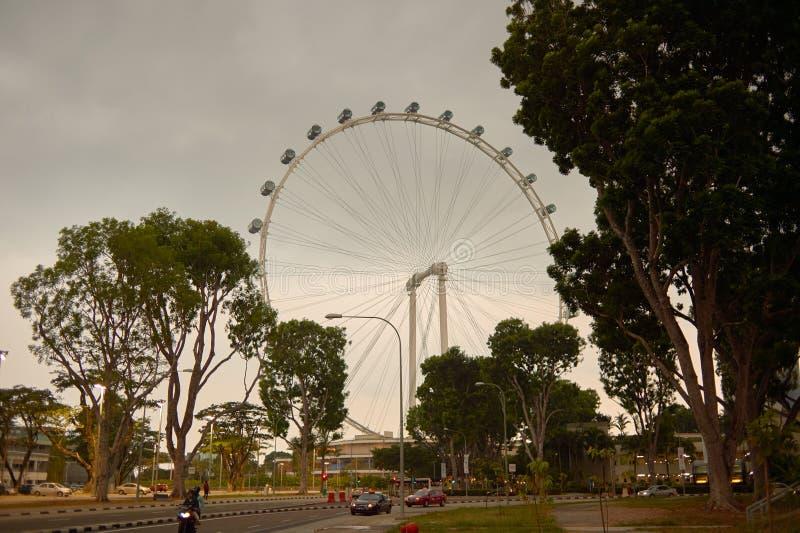 Singapore Flyer. SINGAPORE - CIRCA NOVEMBER, 2015: view of Singapore Flyer in the evening. The Singapore Flyer is a giant Ferris wheel stock image