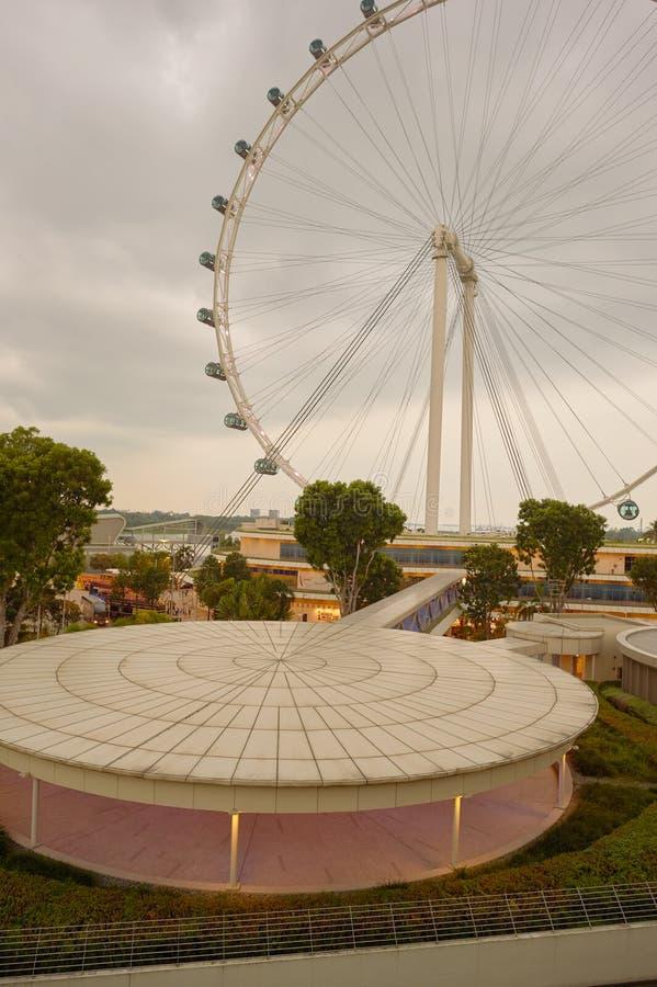 Singapore Flyer. SINGAPORE - CIRCA NOVEMBER, 2015: view of Singapore Flyer in the evening. The Singapore Flyer is a giant Ferris wheel stock photo