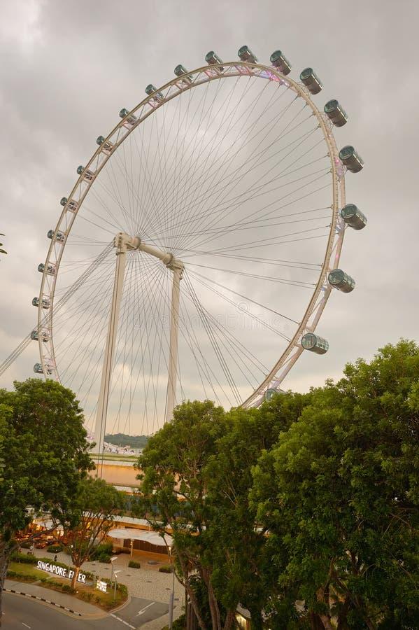 Singapore Flyer. SINGAPORE - CIRCA NOVEMBER, 2015: view of Singapore Flyer in the evening. The Singapore Flyer is a giant Ferris wheel stock images