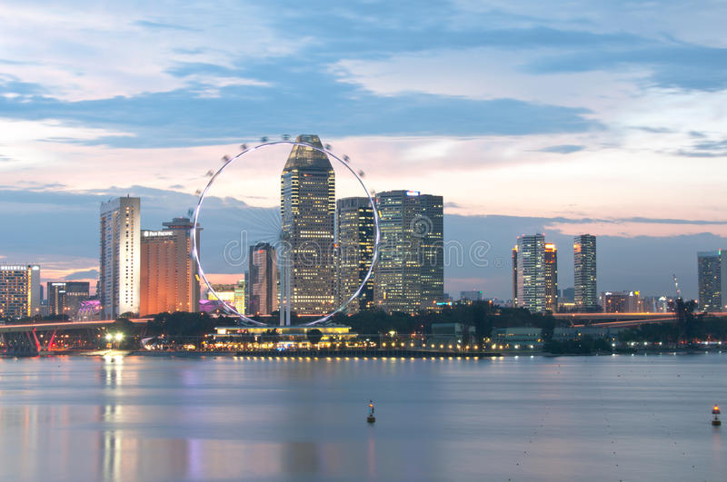Download Singapore Flyer And Cityscape At Dusk Editorial Photography - Image: 20106332