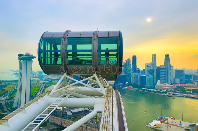 Singapore Flyer and Downtown Core. Skyline of Singapore, Singapore Flyer in the foreground stock images