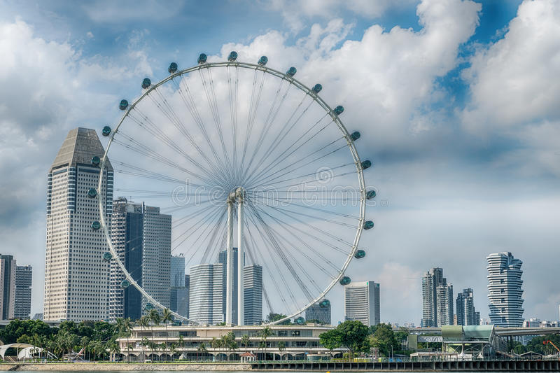 Singapore Flyer the giant ferris wheel in Singapore.  royalty free stock images