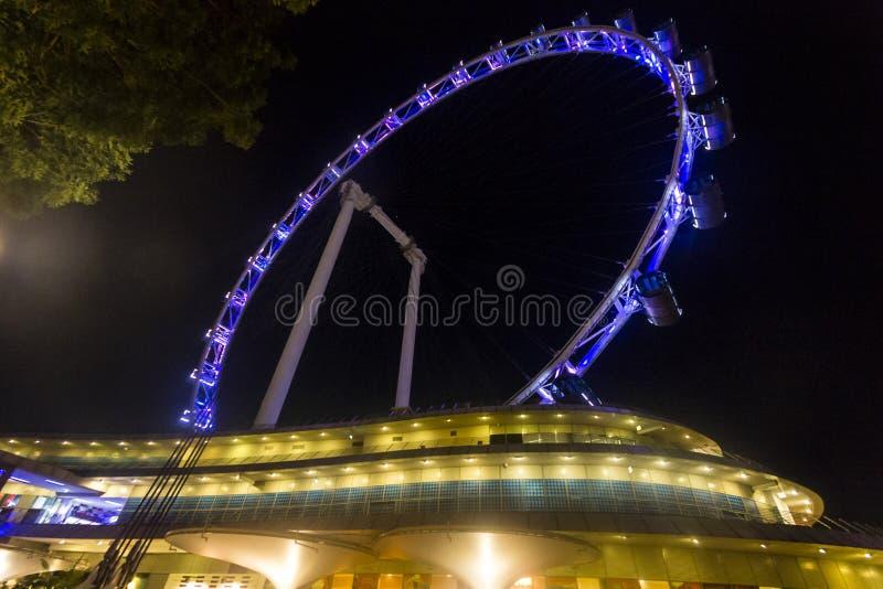 Singapore Flyer at night. The Singapore Flyer, big wheel, at night stock photos