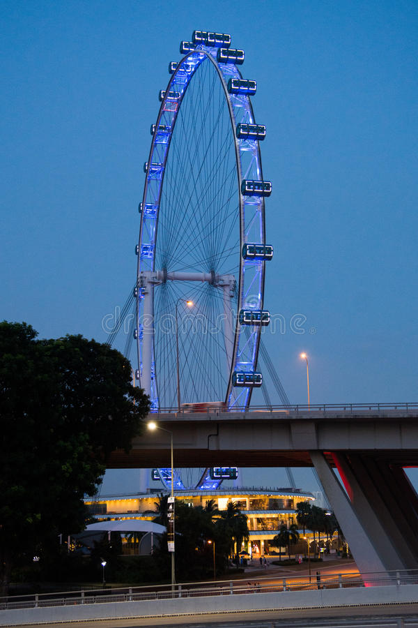 Singapore Flyer at night. Singapore Flyer - the second biggest Ferris wheel in the world, height of 165 meters stock photography
