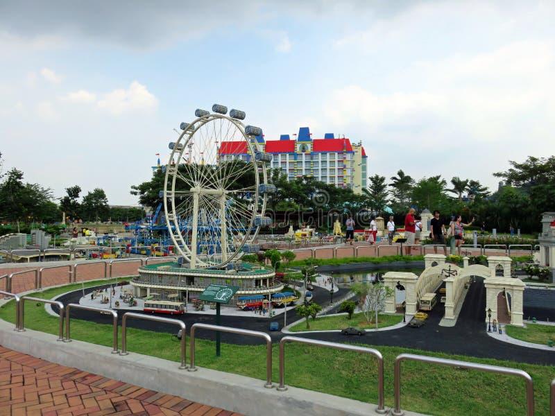 Singapore Flyer replica, Legoland Miniland Theme Park, Malaysia. Replica of the giant Ferris wheel Singapore Flyer at the Legoland Miniland in Johor, Malaysia royalty free stock photo