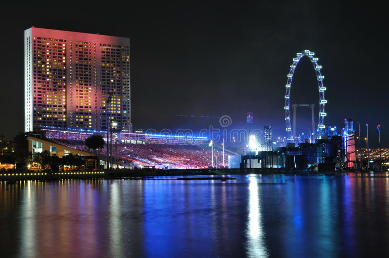 Singapore flyer and river. At night royalty free stock image