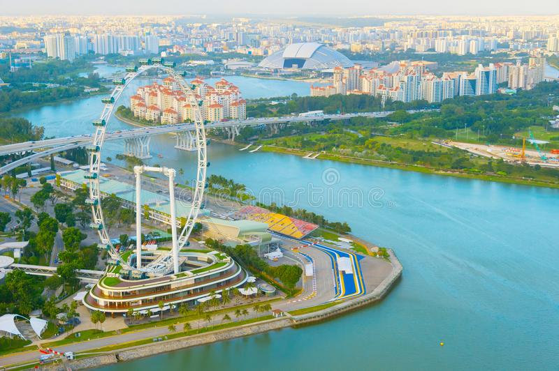Singapore Flyer river aerial view. Aerial view of Singapore Flyer and river stock images