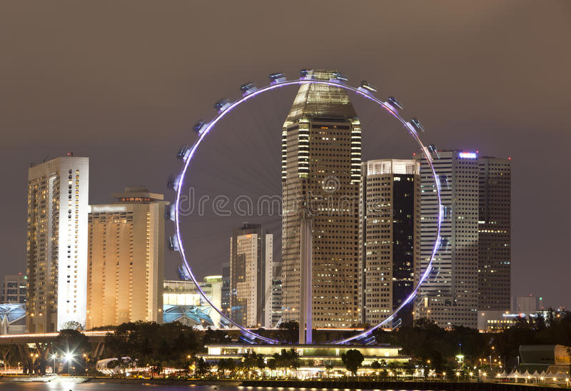 Singapore Flyer Singapore. Singapore flyer at night time royalty free stock image