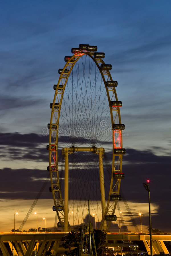 Singapore Flyer at sunrise royalty free stock photo
