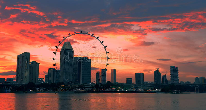 Sunset singapore skyline royalty free stock photography