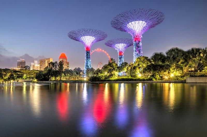 Singapore, 29, September, 2018 : Gardens by the Bay. Night view of the light tree show in Singapore. Singapore, Gardens by the Bay. Night view of the light tree stock image