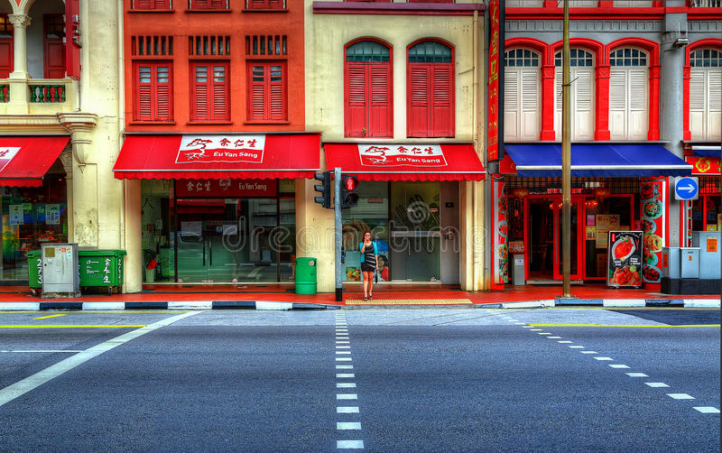 Singapore gatasikt royaltyfria bilder