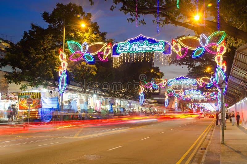 Singapore Geylang Serai Hari Raya Puasa licht-omhoog en bazaar royalty-vrije stock fotografie